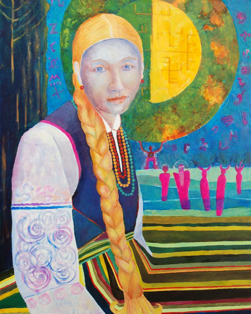 Łowiczanka, obraz postać kobiety w stroju ludowym, olej na płótnie wymiary 70 x 90 cm