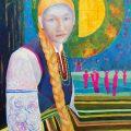 Portret olejny kobiety w stroju ludowym Łowiczanka Magda Walulik