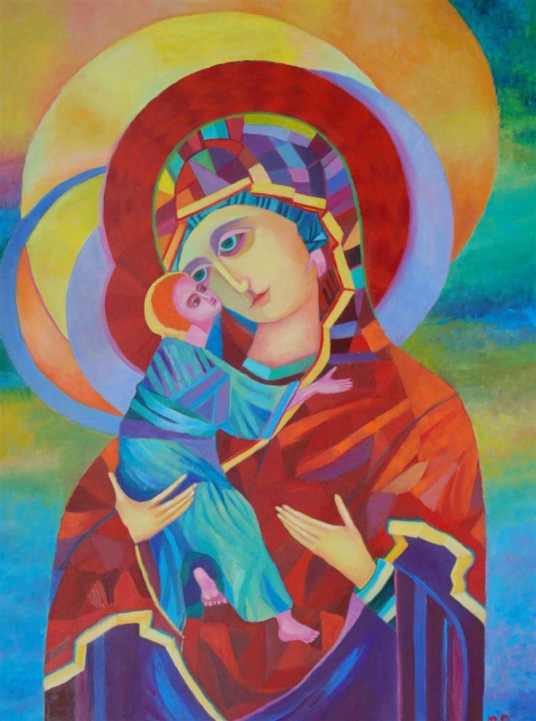 Ikona Matka Boża Włodzimierska olej na desce
