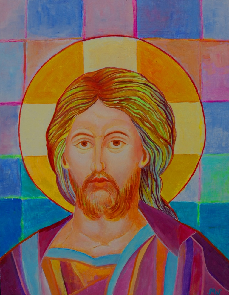 Ikona Pana Jezusa Chrystus Pantokrator obraz olejny Magdalena Walulik