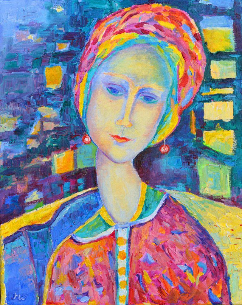 obraz Amedeo Modigliani_obraz olejny_na płótnie_kobieta siedząca w fotelu_autor Magdalena Walulik