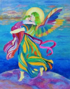 Anioł Stróż z dzieckiem na ręku obrazek na chrzciny