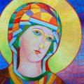 Ikona Matki Bożej w żółtej aureoli Magdalena Walulik olej na płycie