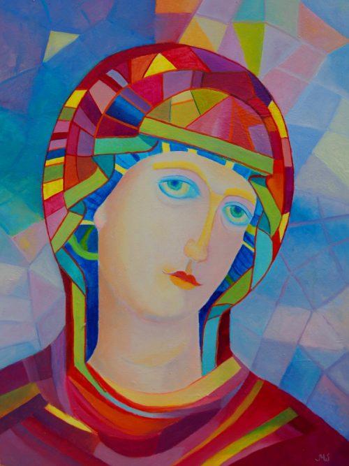 Ikona Matki Bożej Kazańskiej_Ikona Matki Bożej Jasnogórskiej_Matka Boska Częstochowska_malarstwo religijne_obrazki religijne_format 30 x 40 cm_obraz olejny