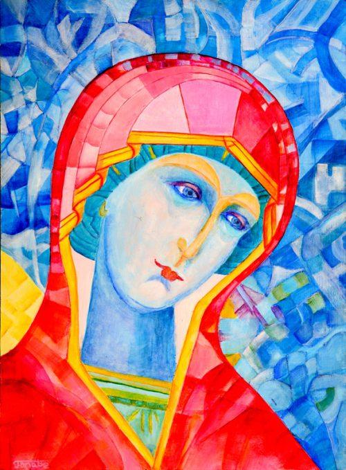 Ikona Matki Bożej Włodzimierskiej_ikona Eleusa_ikona Umilenie_Matka Boska Częstochowska_malarstwo religijne_obrazki religijne_format 30 x 40 cm_obraz olejny