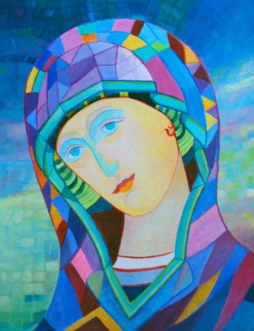 Ikona Matki Chrystusa święty obraz na prezent dla dziecka na chrzciny prezent religijny na pierwszą komunię