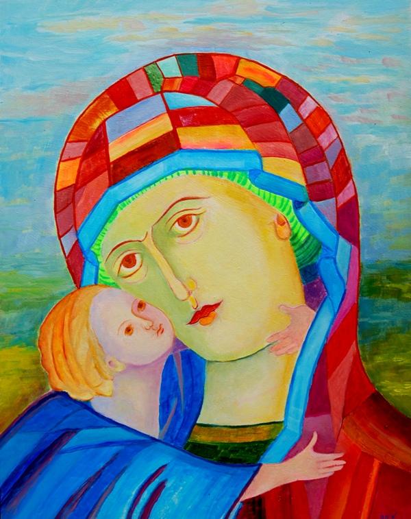 Madonna z Dzieciątkiem ikona Włodzimierska obraz olejny na sprzedaż Magda Walulik