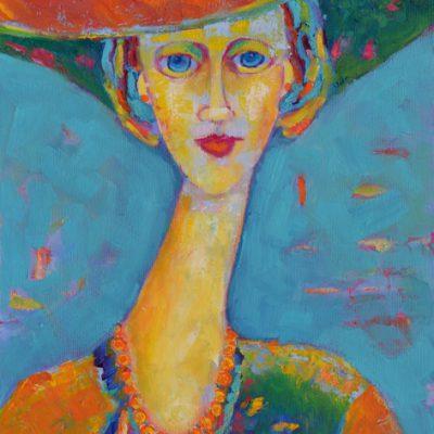 portret olejny kobiety w kapeluszu, olej seria Modigliani