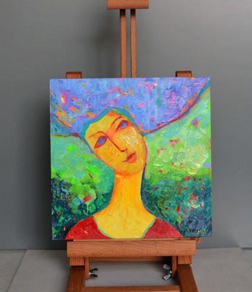 portret olejny kobieta mały obraz