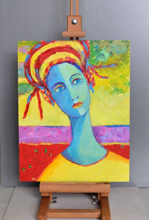 portret ze zdjęcia mały obrazek olejny