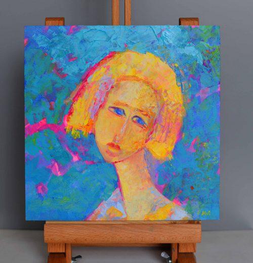 małe obrazki olejne -portret olejny mini obrazek