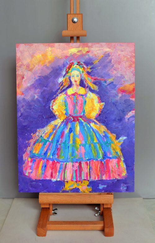 mazowszanka kobieta w stroju ludowym obrazek olejny