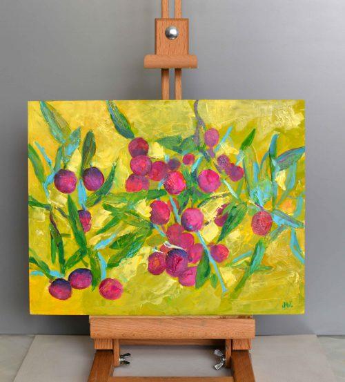 obraz olejny owoce wiśnie kolorowe do kuchni
