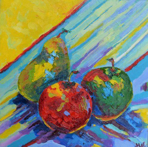obraz olejny gruszki i jabłka