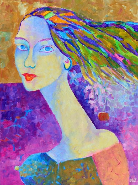 Obraz olejny portret kobiety: Jaśmina
