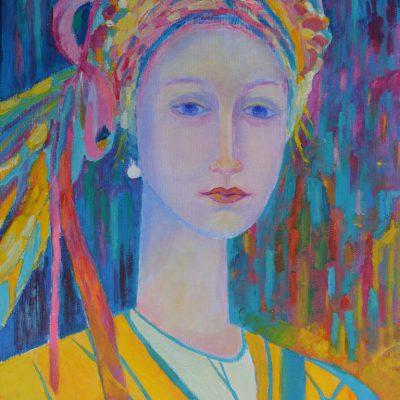 Motywy ludowe obrazy - Kobieta w stroju ludowym