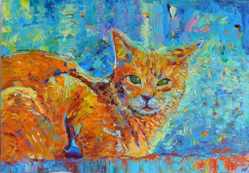Obraz olejny koty - Kot Rudzielec