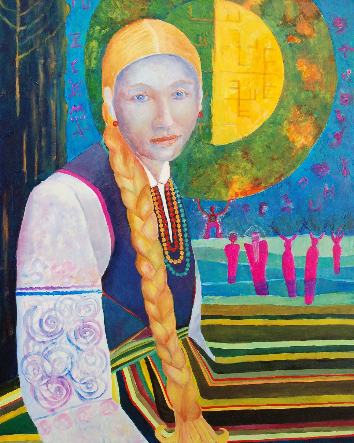 Obraz ręcznie malowany: Łowiczanka