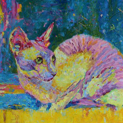 obraz olejny kot zwierzęta kot