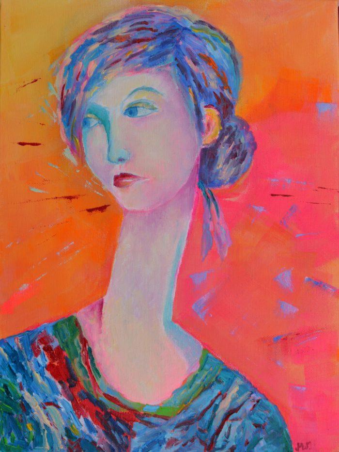 Obraz olejny portret Jesteś taka kochana