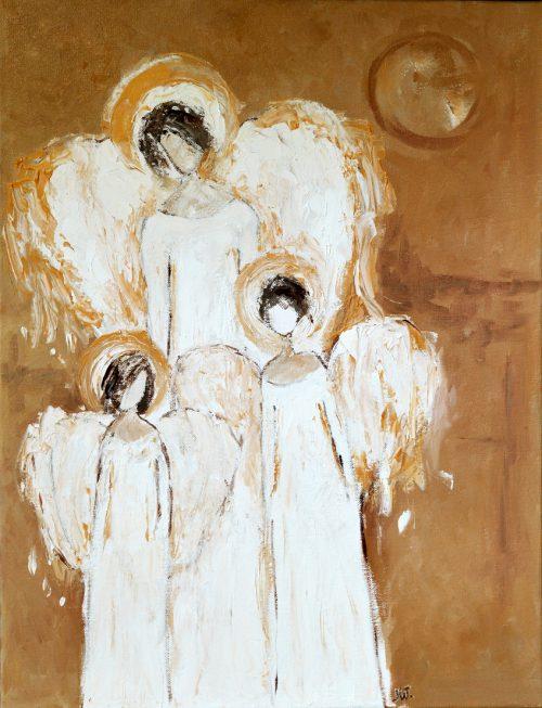 trzy anioły obraz olejny na płótnie
