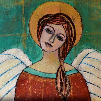 Anioł na ścianę obraz z aniołem ręcznie malowany na płótnie canvas