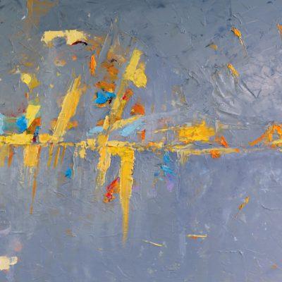 Abstrakcja obraz szary olejny ręcznie malowany