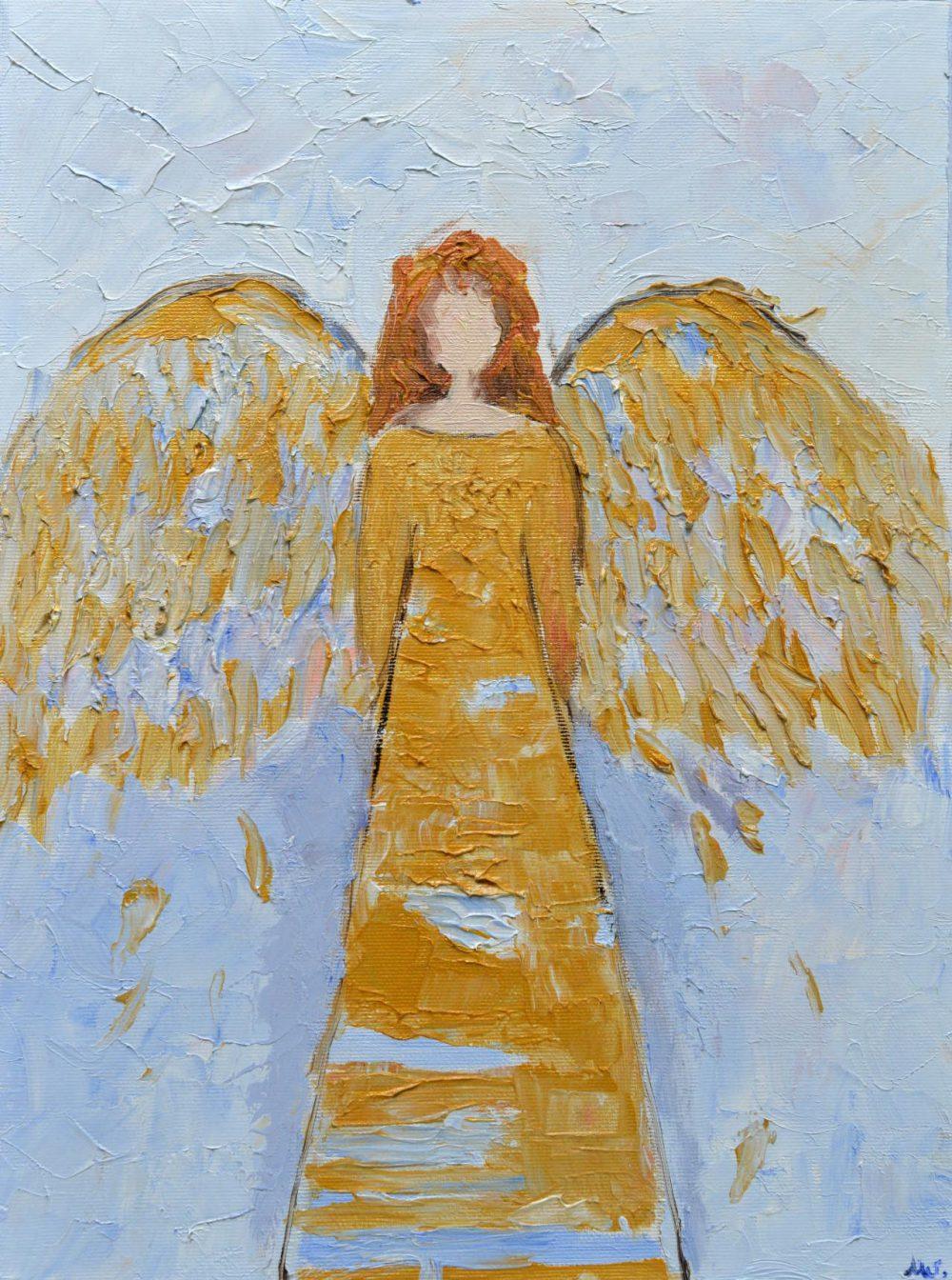 Anioł malowany na płótnie, błękity, złoto
