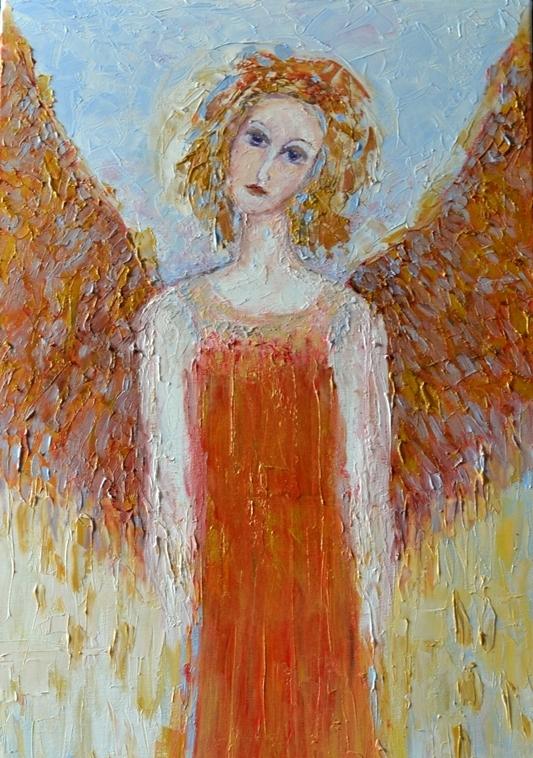 Anioł miłości obraz na płótnie olejny 40 x 80