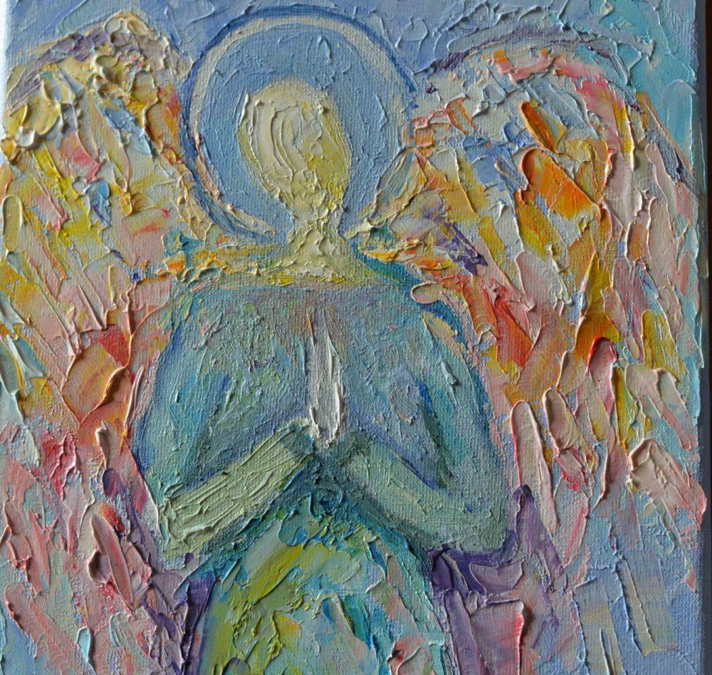 Anioł na prezent w pastelowych kolorach, obraz olejny