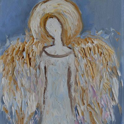 Obraz anioł ręcznie malowany na płótnie, biały, złoty