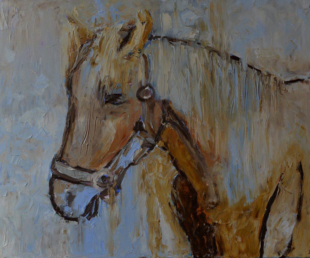 Obraz do salonu z koniem impasto, faktura