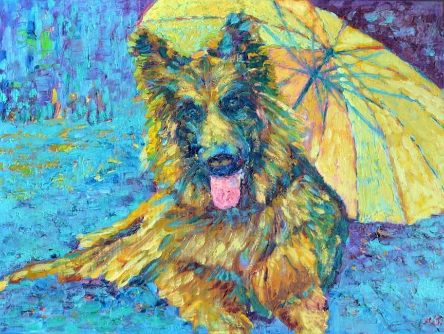 Obraz olejny pies ręcznie malowany 30 x 40