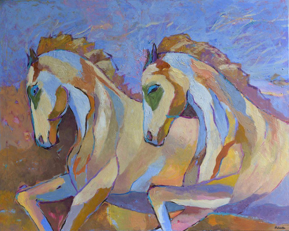 Konie w galopie obraz na płótnie nowoczesne obrazy 80 x 100
