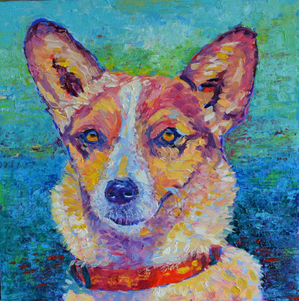 Portret psa ze zdjęcia obraz olejny 40 x 40