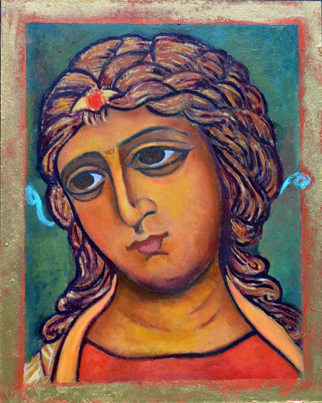 Anioł Gabriel ikona ręcznie malowana na płycie mdf