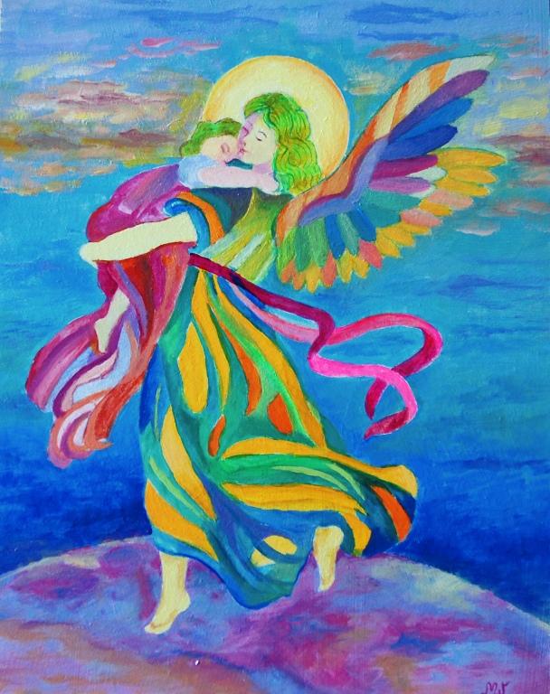 Anioł Stróż z dzieckiem na ręku bardzo kolorowy