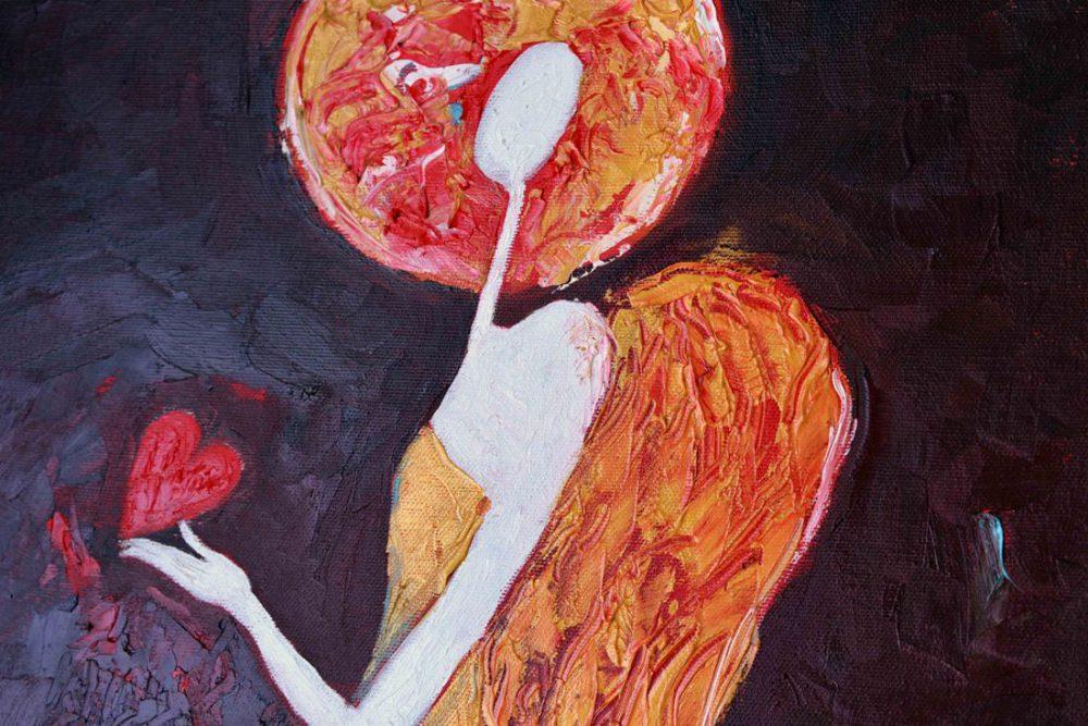 Anioł Stróż z sercem w żółtej sukni 40 x 80