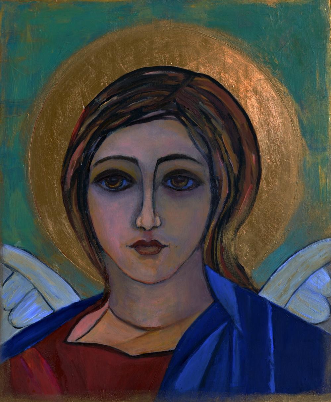 Anioły na desce malowane Anioł Archanioł Gabriel ikona 25 x 30