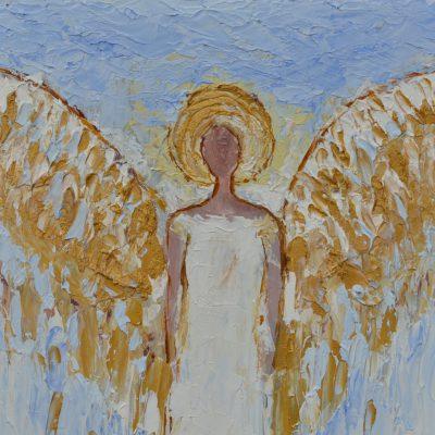 Anioły obrazy olejne Anioł obraz oryginał w błękicie i złocie 20 x 32