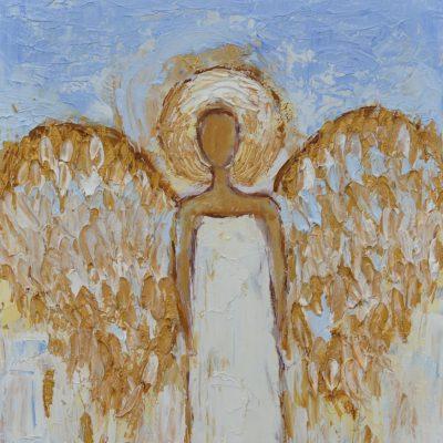 Biały anioł obraz olejny, złote skrzydła, faktura, impasto 20 x 32