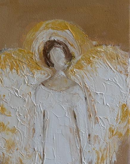 Biały anioł ze złotymi skrzydłami obraz olejny 20 x 40