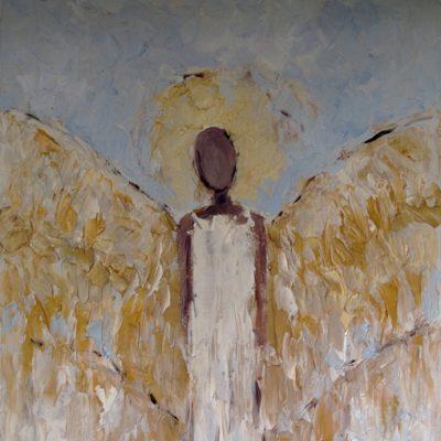 Duże anioły na ścianę Złoty anioł ręcznie malowany obraz olejny