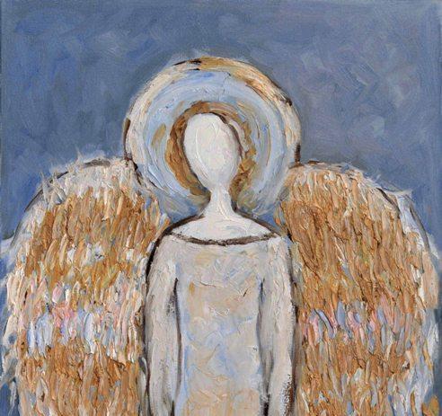 Duże obrazy aniołów na ścianę ręcznie malowane 40 x 80