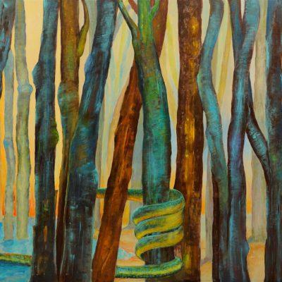 Duży obraz do salonu ręcznie malowany pejzaż las