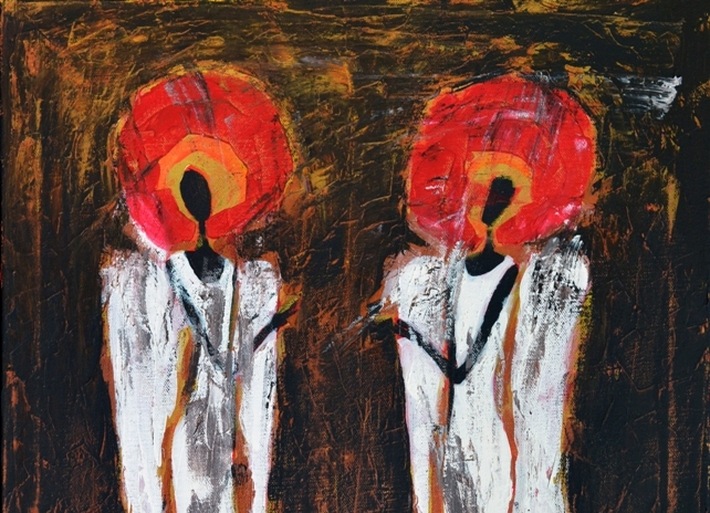 Dwa anioły stylizowane obraz akrylowy na płótnie 30 x 40