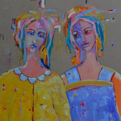 Nowoczesny obraz z kobietą Dwie kobiety