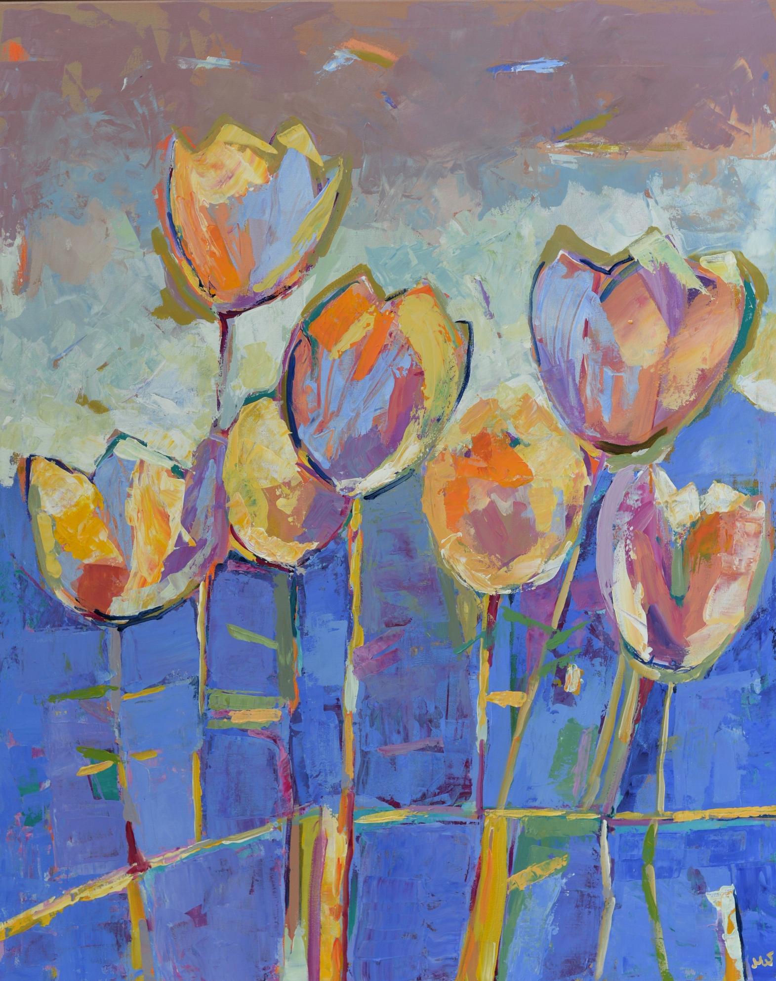 Duży Obraz Akrylowy Kwiaty Tulipany Abstrakcja 80x100