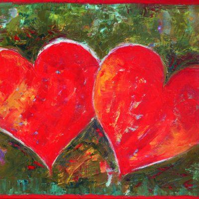 Ręcznie malowany obraz na prezent Dwa serca
