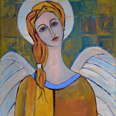 Obraz złoty anioł z pięknymi skrzydłami 50 x 65